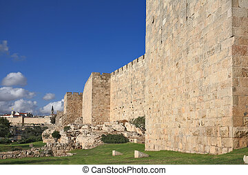 Defensive wall of the ancient holy Jerusalem