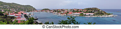 Saint Barthelemy - Panoramic view of Gustavia, Saint...