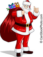 Santa Claus With Bag Of Presents For Christmas - A vector...
