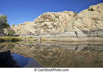 Willow Lake, Prescott Arizona - the granite dells along the...