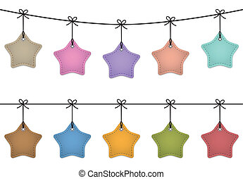 Hanging star labels made of leather. Price tags for...