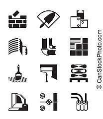 Construction materials and tools - vector illustration