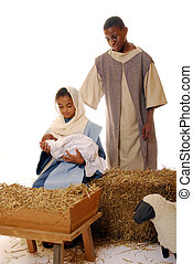 Childrens Nativity Dram - Two african american children...