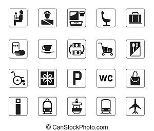 Airport, bus station and railway station icons set - vector...