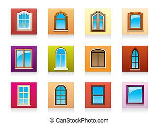 Plastic aluminum and wooden windows