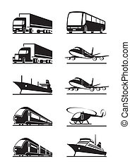 Passenger and cargo transportations - vector illustration