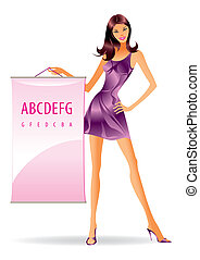 Fashion model with ad message - Fashion model with...