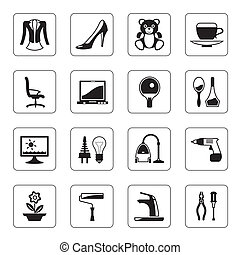 Hypermarket and mall icons set - vector illustration