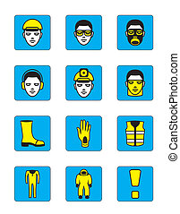 Health and safety icons set - vector illustration