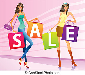 """Shopping girls with """"sale"""" bags"""