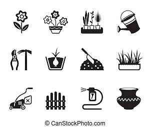 Flower and garden icons set