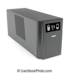 Uninterruptible power supply on white background