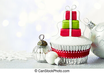 Christmas cupcake with copy space to side