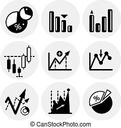 Vector black statistics icons Icon set