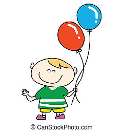 happy boy smile with balloons cartoon hand drawn...