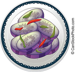 egg plant - illustration of egg plant in a dish on white...
