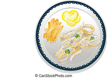 cala frei - illustration of cala frei in a dish on a white...