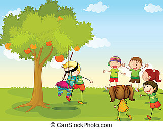 kids playing in nature - illustration of kids playing games...