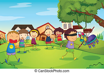 kids playing in nature - illustration of kids playing game...