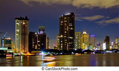 Waterfront buildings.