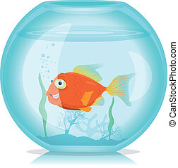 Gold Fish In Aquarium - Illustration of a funny cartoon...