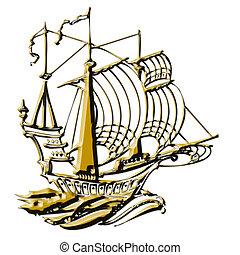 Navegación, barco, Ilustración
