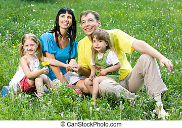 Family on the lawn