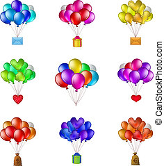 Balloons bunches, set - Set of balloons, colorful bunches...