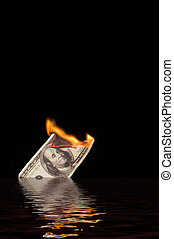 Burning and Sinking 100 Dollar Bill - A one hundred dollar...