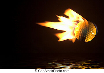 Flaming Golf Ball Over Water