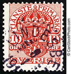 Postage stamp Sweden 1910 Arms of Sweden, Official Stamp