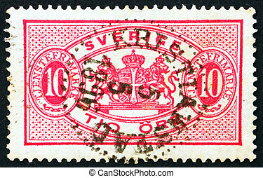 Postage stamp Sweden 1895 Arms of Sweden, Official Stamp