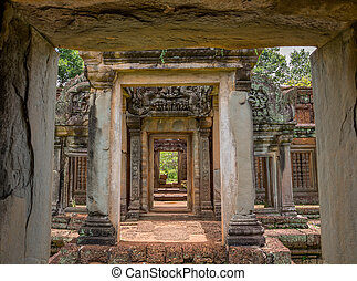 Angkor Wat - Vintage temple entrance and columns in Angkor...