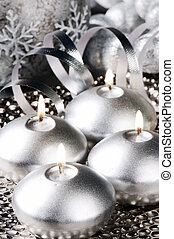 Christmas candles in silver tone