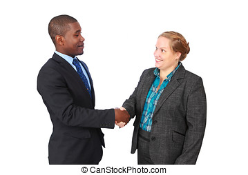 Handshake - Friendly smiling man and woman shaking hands