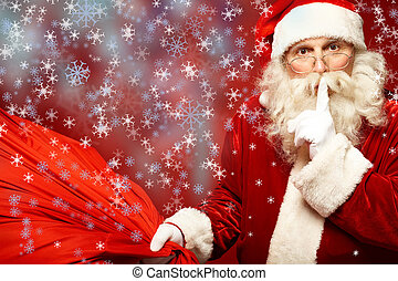 Christmas secret - Portrait of Santa Claus with huge red...