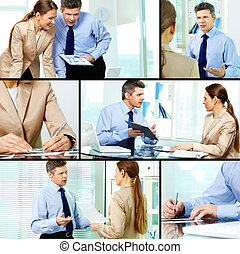 Working in office - Collage of business partners working in...