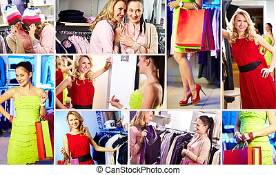 Shoppers - Collection of photos of happy shoppers in the...