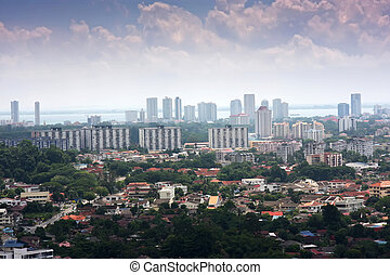 Penang, Malaysia - Panoramic view of the Malaysian city of...