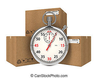 Stopwatch Over a Carton Boxes Express Delivery Concept