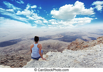 girl enjoys the most beautiful sights canyon - girl enjoys...