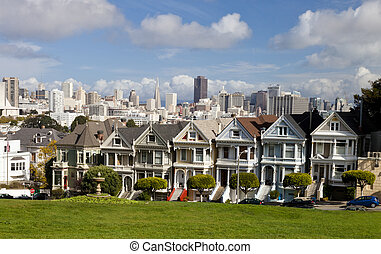 Painted Ladies with San Francisco skyline in the background...
