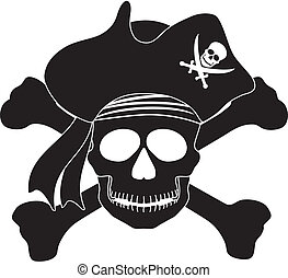 Pirate Skull Black White Illustration - Skull with Captain...