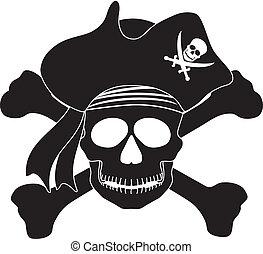 Pirate Skull Black White Illustration - Skull with Captain...