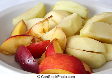 Fruit slices - Choppped fresh fruit raw slices of apple and...