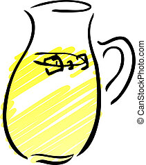 Pitcher of lemonade - A pitcher of lemonade Retro hand-drawn...