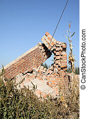 demolition of smoldering rubble in china's rural