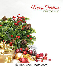 Christmas background with wreath, gift, berries and baubles...