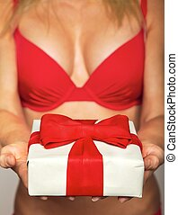 Sexy female in red underwear offering a gift