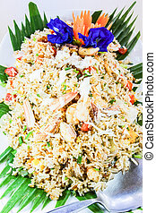 Seafood fried rice with herb - Thai food, seafood fried rice...